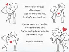 romantic anniversary poems for him - Modernes First Wedding Anniversary Quotes, Anniversary Wishes For Boyfriend, Anniversary Quotes For Him, Happy Anniversary Wishes, Anniversary Funny, Romantic Anniversary, Anniversary Cards, Happy Anniversay, One Month Anniversary