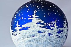 SNOWY TREES personalized handpainted glass ball by alaskaballs, $26.50