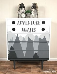 Mountain Adventure theme kids or nursery dresser. Painted in Chalk Paint® by Annie Sloan in shades of Graphite and Pure White. By Orginally Worn
