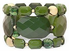 Olive Green Faceted 3-pc. Stretch Bracelet Set on shopstyle.com