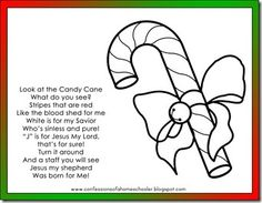 Candy Cane Poem and coloring page: Read the cute poem about Jesus and color the candy cane!