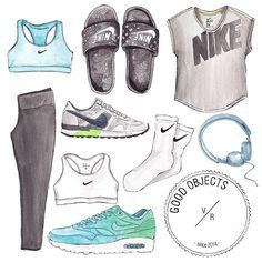 Good objects - Everything nike + music watercolor illustration @nikewomen #nike #sportswear #goodobjects