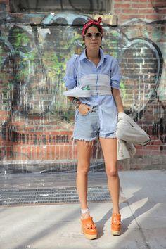Leandra Medine Man Repeller Hermes headscarf Lem Lem sarong Steven Alan shirt Levi's shorts Rochas clogs Missoni bathing suit Adidas sneakers Armani sunglasses Atea blazer #streetstyle