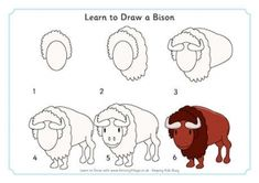 bison draw animals learn easy drawings drawing animal step zoo activityvillage learning difficult village line practice bit explore cow guide