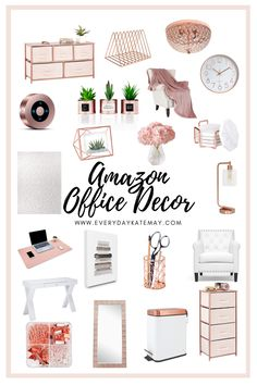 Its time to upgrade your office while working from home. Rose gold office decor is clean, sleak, and just want you need. Rose Gold Room Decor, Rose Gold Rooms, Cozy Home Office, Home Office Design, Gold Office Decor, Womens Office Decor, Work Desk Decor, Cute Desk Decor, Rustic Office Decor