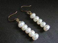 Geniune Button Pearl Earrings by RobertaJune on Etsy