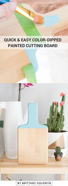Learn how to make a quick and easy color-dipped painted cutting board. The perfect hostess gift!