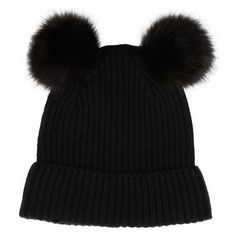 Accessorize Dani Double Pom Beanie Hat ❤ liked on Polyvore featuring accessories, hats, pompom hat, cold weather hats, beanie cap hat, pom beanie and beanie caps