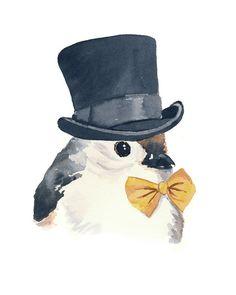 Imprimir acuarela, Ilustración de aves, Porrón paro, sombrero de copa y pajarita, 5 x 7 impresión del arte