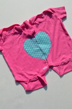 Twin Girl Baby Onesies Hot Pink Heart Applique 3-9 Months Ready to Ship