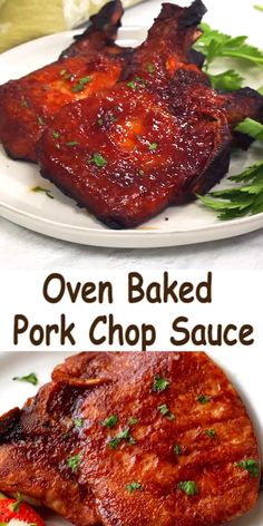 pork chop recipes Oven Baked Pork Chop Sauce - The combination of the sauce and the oven baking give you pork that is full of luscious flavor and fork tender. Its amazing! Easy Pork Chop Recipes, Oven Recipes, Pork Recipes, Cooking Recipes, Recipes Dinner, Cooking Tips, Spinach Recipes, Oven Pork Chops, Boneless Pork Chops