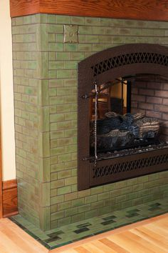 The Hawthorn in Pesto Arts & Crafts Tile Fireplace Basement Fireplace, Craftsman Fireplace, Cabin Fireplace, Fireplace Remodel, Craftsman Living Rooms, Craftsman Interior, Craftsman Style Homes, Fireplace Tile Surround, Fireplace Surrounds