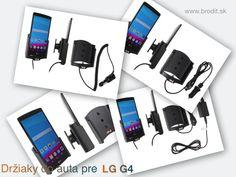 Nové držiaky do auta pre LG G4 (nie s koženým zadným krytom). Pasívny držiak Brodit pre pevnú montáž v aute, aktívny s CL nabíjačkou, s USB konektorom alebo s Molex konektorom.