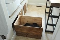 DIY Laundry Room Crates - The Wood Grain Cottage - For under the bench