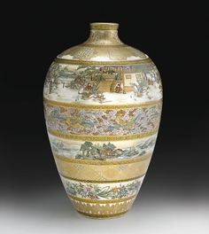 A Satsuma vase by Matsumoto Hozan, late 19th Century, of ovoid form surmounted by a narrow waisted mouth, painted on the exterior in coloured enamels and gilding with continuous scenes of figures watching riders competing on horseback in palace grounds, sampans and pavilions in lakeside views, ho-ho birds in flight and flowering plants, all in horizontal bands divided by gilt brocade borders, the base signed in gilding Matsumoto Hozan