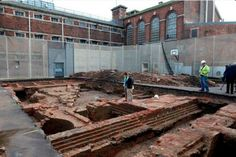 The remains of a castle beneath a Gloucester prison basketball court