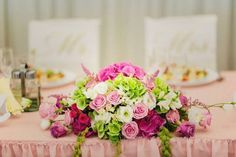 How cute is that? hydrangeas, roses and freesias