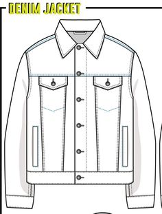 Fashion Design Drawings, Fashion Sketches, Flat Sketches, Flat Drawings, Jacket Drawing, Fashion Design Template, Clothing Sketches, Denim Jacket Men, Jacket Pattern