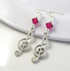 Ruby Music Earrings Treble Clef Earrings Music by BeadBrilliant, $16.00