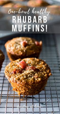 Rhubarb Muffins- a simple healthy one-bowl muffin recipe made with oats, your choice of flour, optional seeds and nuts, sweetened with maple syrup. Vegan and GF adaptable! Source by feastingathome Healthy Muffins, Healthy Snacks, Healthy Drinks, Healthy Sweets, Healthy Rhubarb Recipes, Rhubarb Recipes No Sugar, Healthy Muffin Recipes, Brunch Recipes, Dinner Recipes