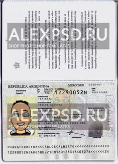 Argentina passport - ALEXPSD Passport Template, Psd Templates, Photoshop, Names, Poster, Argentina, Billboard