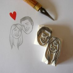 custom wedding stamps   http://etsywedding.blogspot.com/2010/10/lilimandrill-custom-wedding-portrait.html