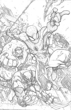 "Avengenators""-Spidey, She-Spidey, R'ulk, & Wolvie: pencils by Joe Madureira (Marvel comics) Comic Book Artists, Comic Artist, Comic Books Art, Joe Madureira, Comic Drawing, Drawing Sketches, Drawing Faces, Drawing Tips, Marvel Drawings"