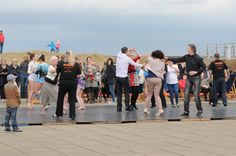 Visitors and residents alike enjoying the dance displays and workshops on Littlehaven promenade, South Shields as part of the opening day celebrations.  South Tyneside