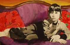 Art For Sale! - Girl On The Purple Couch Purple Couch, Finding Joy, Michelangelo, Art For Sale, Creative, Anime, Painting, Inspiration, Books