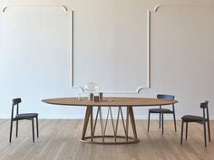 Buy online Acco | wooden table By miniforms, oval wooden table design Florian Schmid, acco Collection