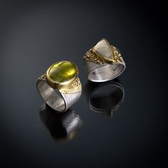 rings, sterling silver, 22k gold, beryl and tourmaline
