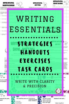 With these narrative writing strategies and activities, students will learn how to develop an idea with specific details, and write with clarity and precision. Practical writing strategy handouts and revision task cards will guide students as they create Personal Narrative Writing, Memoir Writing, Journal Writing Prompts, Academic Writing, Personal Narratives, Writing Strategies, Writing Resources, Teaching Strategies, Vocabulary Activities