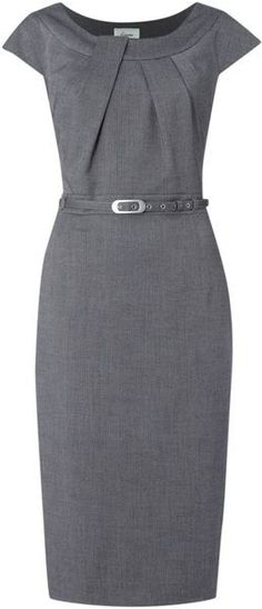 Classic Sheath Dress - Linea Twist Neck Belted Dress in Silver (grey). - Classic Sheath Dress – Linea Twist Neck Belted Dress in Silver (grey). Classic Sheath Dress – Linea Twist Neck Belted Dress in Silver (grey). Pretty Dresses, Beautiful Dresses, Dresses For Work, Beautiful Life, Mode Outfits, Office Outfits, Office Wear, Office Dresses, Belted Dress