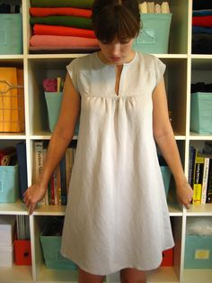 Simple dresses, linen dress pattern, nightgown pattern, needle and thread, sewing Dress Sewing Patterns, Clothing Patterns, Linen Dress Pattern, Nightgown Pattern, Diy Clothing, Sewing Clothes, Summer Tunics, Summer Dresses, Simple Tunic