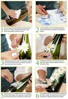 me ~ Botellas decoración Wine Bottle Vases, Recycled Glass Bottles, Glass Bottle Crafts, Painted Wine Bottles, Diy Bottle, Bottles And Jars, Glass Jars, Decoupage Glass, Altered Bottles