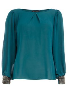Teal embellished cuff top from Dorothy Perkins