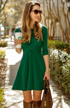 Green Double Crossed dress from The Mint Julep. Obsessed.