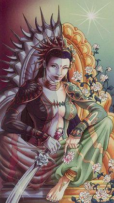 La reine d'épées - Tarot déesse universelle par Antonella Platano & Maria Caratti