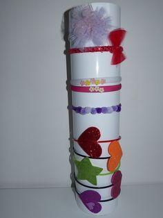 TUBO PORTA CERCHIETTI + vecchi ed anonimi cerchietti riciclati e decorati con tulle, pom.pom, porcellana fredda e gomma crepla