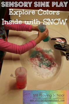 Still Playing School: Sensory Sink Play Indoors with Snow
