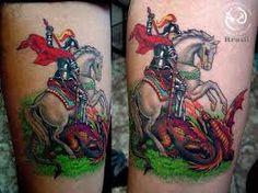 Resultado de imagem para tatuagem sao jorge
