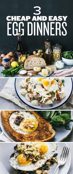 • 3 EASY EGG DINNERS / BREAKFASTS • 1) orecchiette carbonara with hard boiled eggs. 2) egg in the hole with harissa. 3) greens-potato hash with fried eggs and potato chip breadcrumbs.