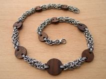 Chain Maille Byzantine Wooden Necklace Chainmail