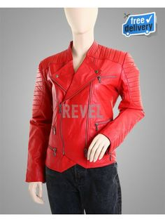 $185-HOT SALE on Custom made Women's Red Biker Jackets available from online sale. Decorate in blazing red. Padded Biker Jackets. 100% premium quality leather. Perfect for pink and black combinations. Fashion style best colour outfit. FREE SHIPPING. Guaranteed Durability. #WomenBikerLeatherJacket #FAshionLeatherJacket #SexyLeatherJacket At #revelleather.com