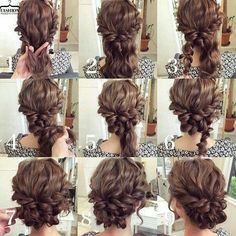Easy updo for curly hair. Wedding hair. Prom hair.