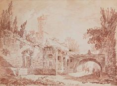 Hubert Robert, 'Figures on a road beside a walled village, a cart beyond the bridge,' 1760, Christie's Old Masters
