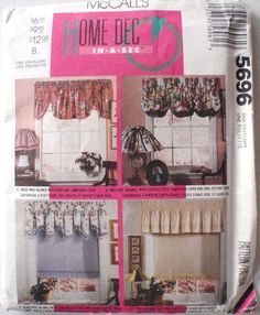 Home Dec Pattern  Window Valances  McCall's 5696 by Shelleyville