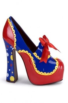 Glossy patent upper with multi color polka dot design, almond closed toe, bow front chunky heel sexy clown shoes. Approximately 5 inch heel. Clowns, Costume Rouge, Circus Costume, Circus Clown, Clown Costumes, Circus Acts, Adult Costumes, Shoe Boots, Shoes Heels