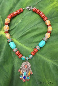 Colorful Nepalese Beaded Hamsa Necklace by TrueBelieverJewelry