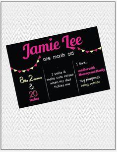 Printable monthly chalkboard baby update by JMWxDigitalDesigns